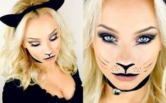 Easy and cute cheshire kitty cat halloween makeup ideas 2017 images #halloweenmakeupideas