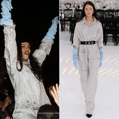 Rihanna hosted a experience in Paris wearing Christian Dior Fall 2014 couture jumpsuit and gloves. Blue Gloves, Mia Farrow, Bad Gal, Rihanna Fenty, Dior, Jumpsuit, Fashion Outfits, Couture, Coat