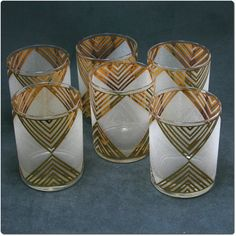 Set of Six Mid Century Chevron Drinking Glasses by hazelhome....perfect cottage glass
