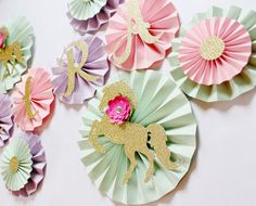 Paper Rosettes Paper Fans Paper Pinwheels by PoshSoiree on Etsy