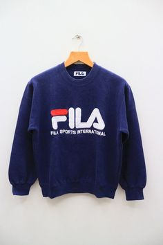 89cd3ca0a92 Vintage FILA Sport International Big Logo Sportswear Blue Sweater  Sweatshirt Size S