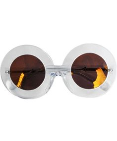 Crystal clear oversized round frames with brown mono gold mirror lenses and signature gold arrow detailing at the temple. Measures just over...