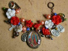 Our Lady of Guadalupe Catholic Charm Bracelet with Patron Saints Medals, Roses St. Therese  St. Monica  Mother of Pearls white Cross  Crucifix  Divine Mercy  St. Anthony / St. Francis   St. Vincent de Paul  Baby Jesus holding bird and flowers
