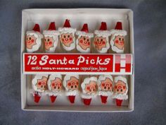 Vtg Holt Howard 12 Santa Picks - Christmas Canape Toothpicks