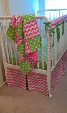 Baby Rag Quilt and Bumperless Crib Bedding Set Pink Chevron and Green Poka Dots