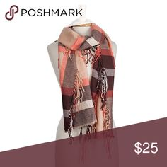 • Plaid Fringe Scarf • Brown, peach, and coral plaid  scarf with fringe. 100% acrylic. Janis Boutique  Accessories Scarves & Wraps