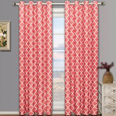 """Amazon.com: Pair of Two Top Grommet Meridian Blackout Thermal Insulated Curtain Panels, Triple-Pass Foam Back Layer, Coral, Set of Two 52"""" by 96"""" Panels (104"""" by 96"""" Pair): Home & Kitchen"""