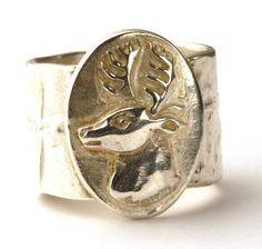 Zilveren ring met hert