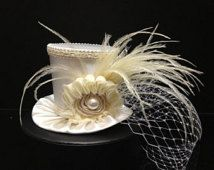 Off White Ivory  Mini Top Hat for Wedding, Bachelorette Party, Bridal Shower…