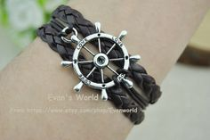 Rudder Bracelet Brown rope and Braided Leather cord by Evanworld, $4.50