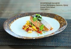 Enjoy Our Current Spotlight Dish!  NORWEGIAN SALMON!!  Grilled Norwegian Salmon  Spicy Sweet Corn Salad THB 480  Available at JAVA Rayong Marriott Resort & Spa  #rayongmarriott #rayong #restaurant #grilledsalmon