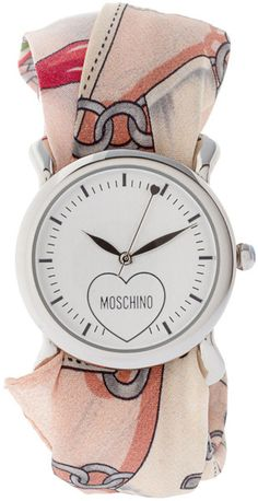 Moschino Watch With Dual Leather And Silk Straps