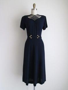 1940s Party Dress / Vintage 1940s Dress / Navy Crepe Cocktail Dress