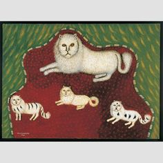 "MOTHER CAT WITH KITTENS/ Morris Hirshfield (1872–1946), 1941 oil on canvas 24 × 36"" Gift of Patricia L. and Maurice C. Thompson Jr. and purchase with funds from the Jean Lipman Fellows, 1998 Estate of Morris Hirshfield/Licensed by VAGA, New York, 1998.5.1. Photo credit: Charles Bechtold"