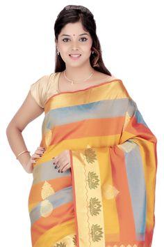 Kanjivaram Handloom Silk Sari Buy Now @ Rs.8,700.00  #Sari #Sarees #Fashiontra…