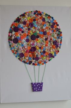 Button art hot air balloon canvas handmade by DollybirdCrafts on Etsy…