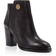 Tory Burch Booties - Junction High Heel ($198) ❤ liked on Polyvore featuring shoes, black, black shoes, high heel shoes, tory burch footwear, tory burch e tory burch shoes