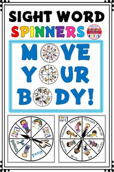 Do you want to give your kids an engaging new way to practice their sight words that will keep them moving their bodies while strengthening their minds? Then these Move Your Body Spinners are perfect for you! Teaching Sight Words, Sight Word Activities, Alphabet Activities, Teaching Activities, Teaching Reading, Kinesthetic Learning, Reading Club, Reading Tips, Educational Activities