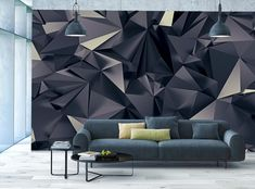 3D Wallpaper MURAL Abstract Room Art Black Triangles WALL DECOR  Paper Poster #Unbranded