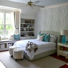 Blue + white teenage girls bedroom | Designed by Lisa Palmer // SummerHouse