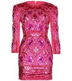 Balmain Pink Embellished Minidress