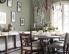 """Benjamin Moore Color """"creekside green."""" A muted, sage green that's relaxing, calm, & comfortable:)"""