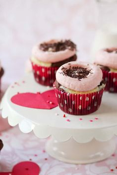 Chocolate Strawberry Cheesecake Cupcakes have a gorgeous pink icing. Perfect for Valentine's Day or anytime!