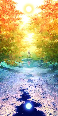 Artsy Sister - Art Stuff — day and night reflection in the water anime girl. Art And Illustration, Anime Scenery Wallpaper, Galaxy Wallpaper, Anime Artwork, Iphone Wallpaper, Cute Anime Wallpaper, Girl Wallpaper, Mobile Wallpaper, Fantasy Kunst