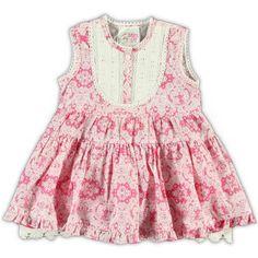 Mim-Pi Baby print hemdjurkje van poplin voor meisjes uit de collectielijn 'Fashion Doll - baby' in de kleur neon pink. beschikbaar v.a. mt 74, 19 euro