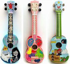 Pony Chops: Beautiful Ukuleles from Chopstitch Ukulele Art, Music Guitar, Banjo, Murder Mysteries, Cozy Mysteries, Ukelele Painted, Painted Guitars, Ukulele Tumblr, Diy Easy Embroidery