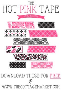 Free Hot Pink and Toile Digital Washi Tape Collection (The Gate House Collection) You can print or you can use for digital scrapbooking...craftings, making printables...web design...digital collages...blog creations and so much more! ENJOY!
