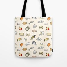 Cheese pattern Tote Bag by Laura Frere - x Cute Tote Bags, Beach Tote Bags, Canvas Tote Bags, Reusable Tote Bags, Tote Pattern, Poplin Fabric, Graphic, Hand Sewing, Textiles