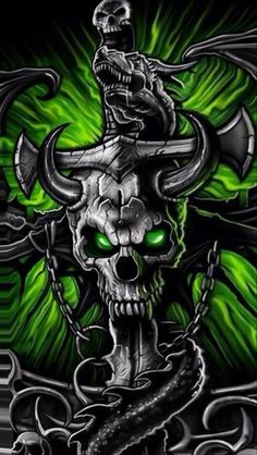 Gothic Metal Graffiti Skull Theme has the green metal gothic graffiti skull with metallic neon horror dragon wallpaper dark icon and for the Android phone. Skull 3d, Metal Skull, Gothic Metal, Dark Gothic, Skull Wallpaper Iphone, Lion Wallpaper, Dark Fantasy Art, Dark Art, Grim Reaper Art