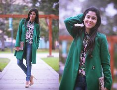 United Colors Of Benetton Green Coat, Zara Flowered Blouse, Guess? Jeans, Vintage Clutch