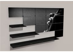 #Muzo Riveli pivot shelf. Radically transform any wall space regularly with the replaceable magnetic art panels that front the Riveli shelving system.