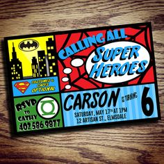 Invitation Super Hero Party by CatjilashDesign on Etsy
