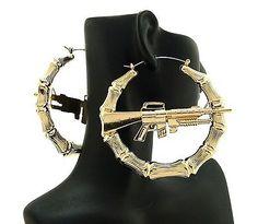 Urban City Ghetto Style Machine Gun Hollow Pincatch Hoop Bamboo Earrings HYER29