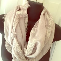 American Eagle infinity scarf. Like new! 100% C. Very light grey 100% cotton w/ off white embroidery floral design. Raw edge. American Eagle, made in India. American Eagle Outfitters Accessories Scarves & Wraps