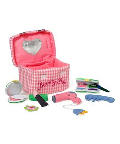$31.99 marked down form $45! Beauty Box Set #beauty #salon #spa #makeup #kids #plush #toy #baby #girl #gift #zulily! #zulilyfinds