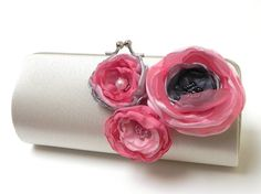 Ivory Gray Pink Bridal Clutch or Bridesmaid by FallenSparrow, $45.00