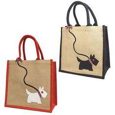 Jute-Hessian-Medium-Shopping-Bag-Scottie-Westie-Dog-on-a-Sequin-Lead