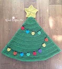Crochet Christmas Tree Tail Blanket - Repeat Crafter Me Christmas Crochet Blanket, Crochet Christmas Trees, Christmas Knitting, Holiday Crochet, Christmas Ornaments, Xmas, Christmas Stuff, Christmas Crafts, Merry Christmas