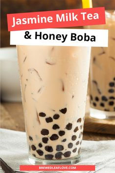 Delicious bubble tea recipe that you can make at home.  This recipe for jasmine milk tea with honey boba is just as good at the one you get at your local tea shop. Milk tea, bubble tea or boba tea, they're all delicious. Milk Tea Recipes, Drink Recipes, Tea Organization, Twisted Tea, Coconut Chocolate Chip Cookies, Bubble Milk Tea, Lactose Free Recipes, Cuisine