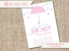 Modern Umbrella Baby Shower Invitation by PinkPeoniesPaperie, $14.80