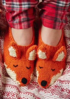Free Knitting Pattern for Fox Slippers - Knit flat with ears, nose and tail sewn on and embroidered eyes. Pattern has photo tutorial. Designed by Louise Walker for Mollie Makes who says this is suitable for beginners