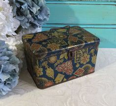Art Deco Antique Tin Box, Blue Box, 1920s Box, Antique Box, Vintage Tin, Decorative Box, Advertising Tin, Coffee Tin, Treasure Chest by tinprincess on Etsy https://www.etsy.com/listing/198911042/art-deco-antique-tin-box-blue-box-1920s