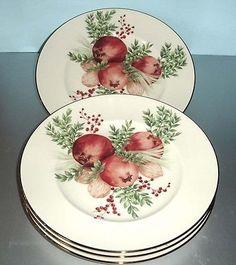 Lenox Boxwood Pine Pomegranate Accent Lunch Plates SET OF 4 Williamsburg NEW | eBay