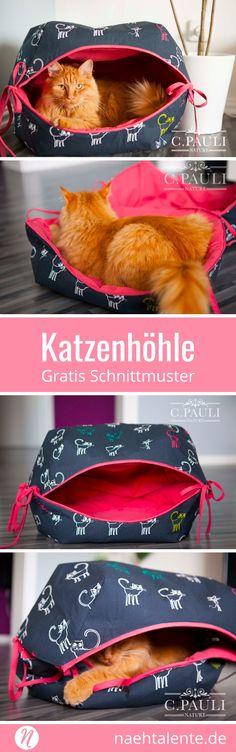 Freebook Katzenhoehle oder Katzenbett selber naehen mit gratis Schnittmuster