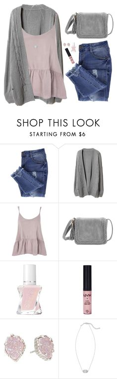 """Peplum tank, loose cardigan & ripped jeans"" by steffiestaffie ❤ liked on Polyvore featuring Essie, Topshop, GALA, NYX and Kendra Scott"