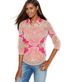 INC International Concepts Petite Printed Button-Down Top